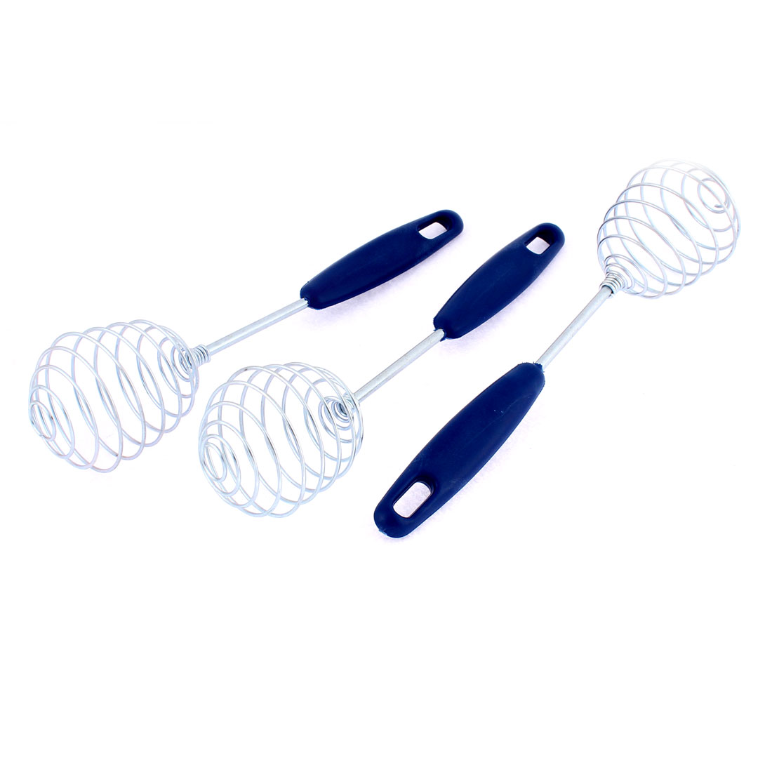 Home Stainless Steel Spiral Whisk Egg Beater 10 Inch Length Blue 3 Pcs