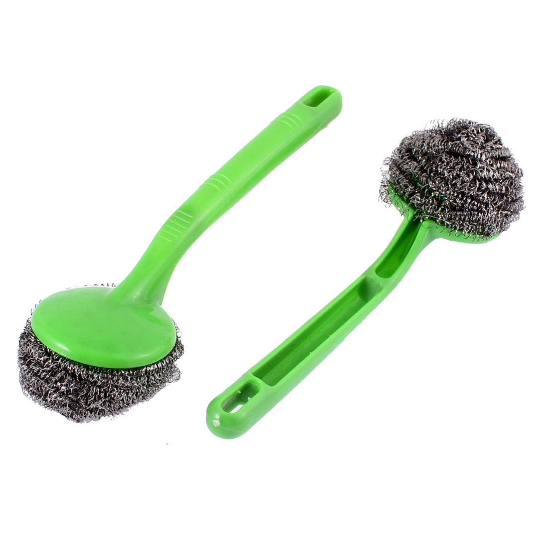 Plastic Handle Cleaning Steel Wire Ball Brush 9 Inch Length Green 2pcs