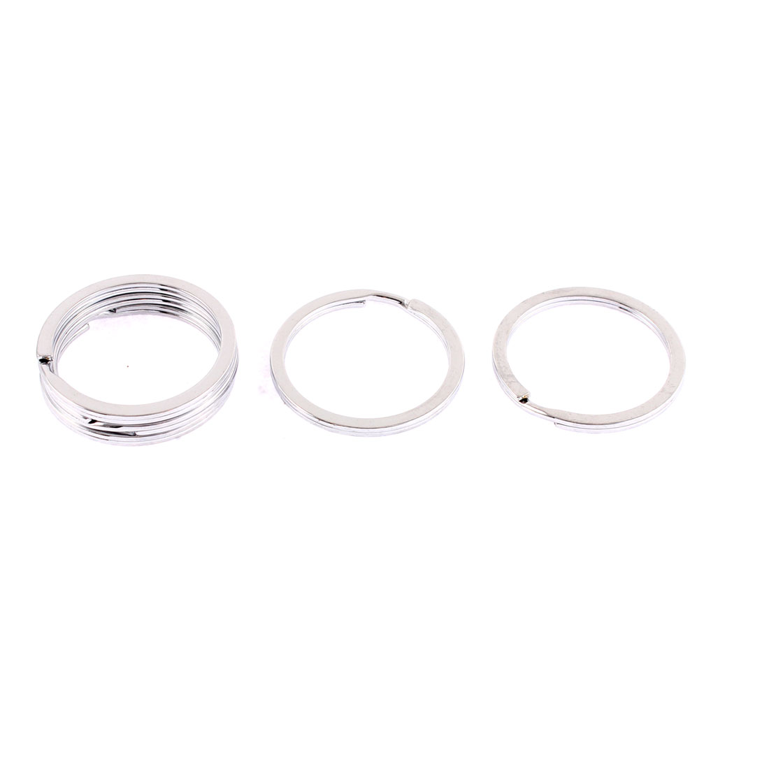5 Pcs Metal Round Dual Loop Split Key Ring Keychain 35mm Outside Dia
