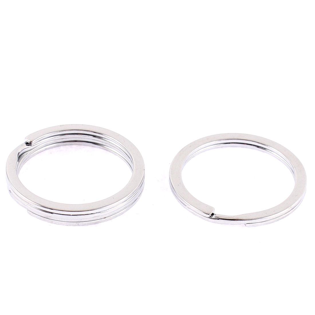 3 Pcs Metal Round Dual Loop Split Key Ring Keychain 30mm Outside Dia