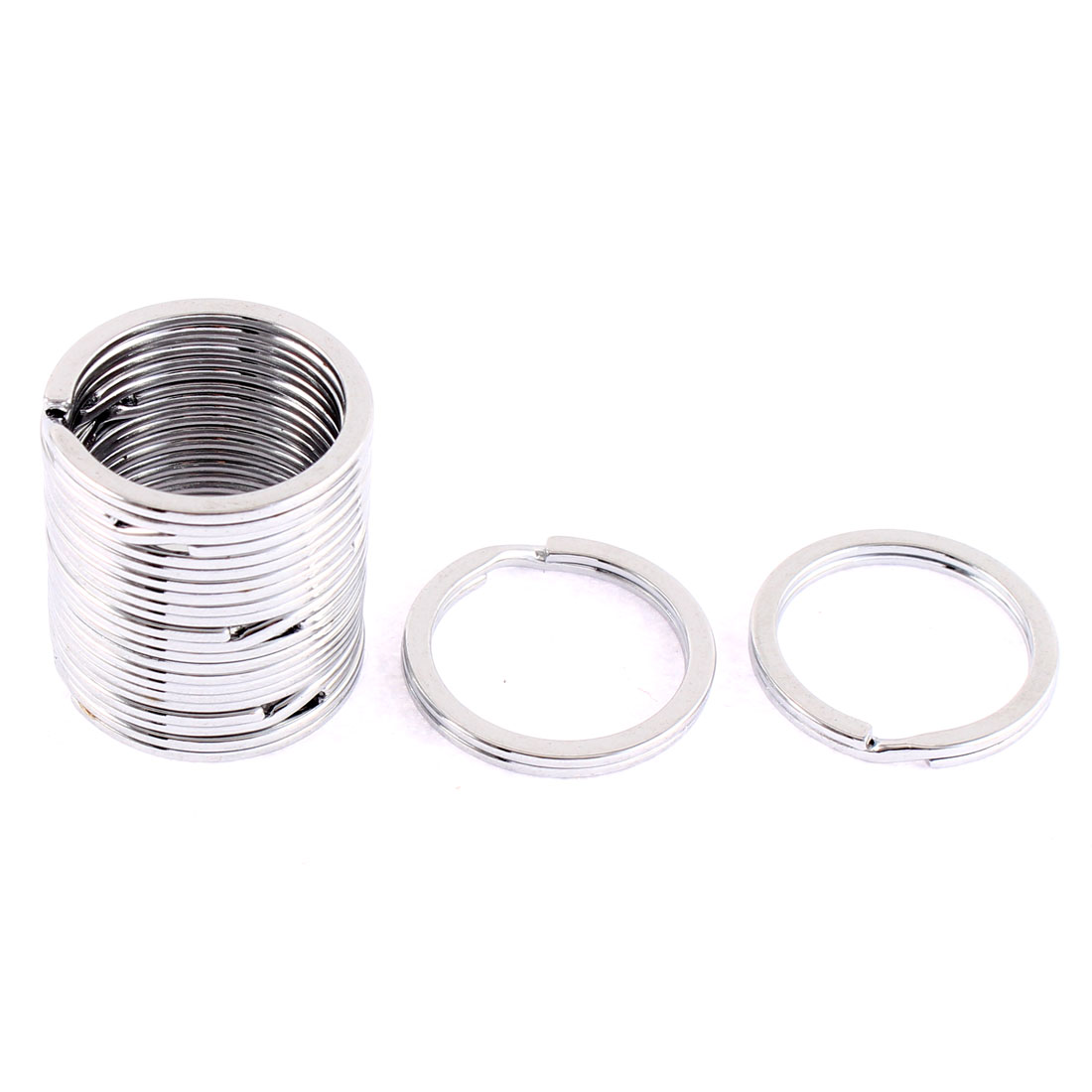 15 Pcs Metal Round Double Loop Split Keyring Keychain 25mm Outside Dia