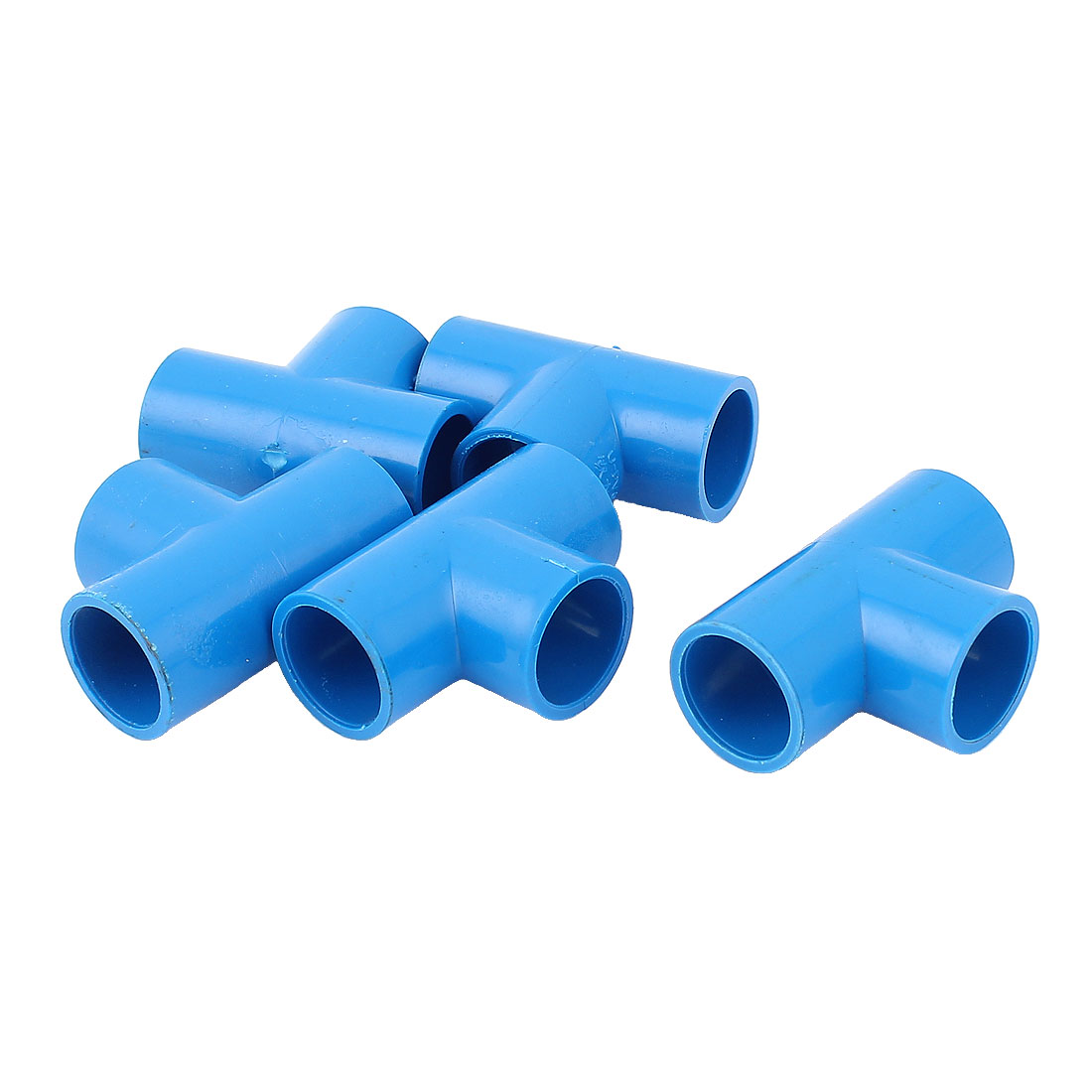 5Pcs 20mm Inner Dia U-PVC T Type 3 Way Water Pipe Hose Joint Connector Blue