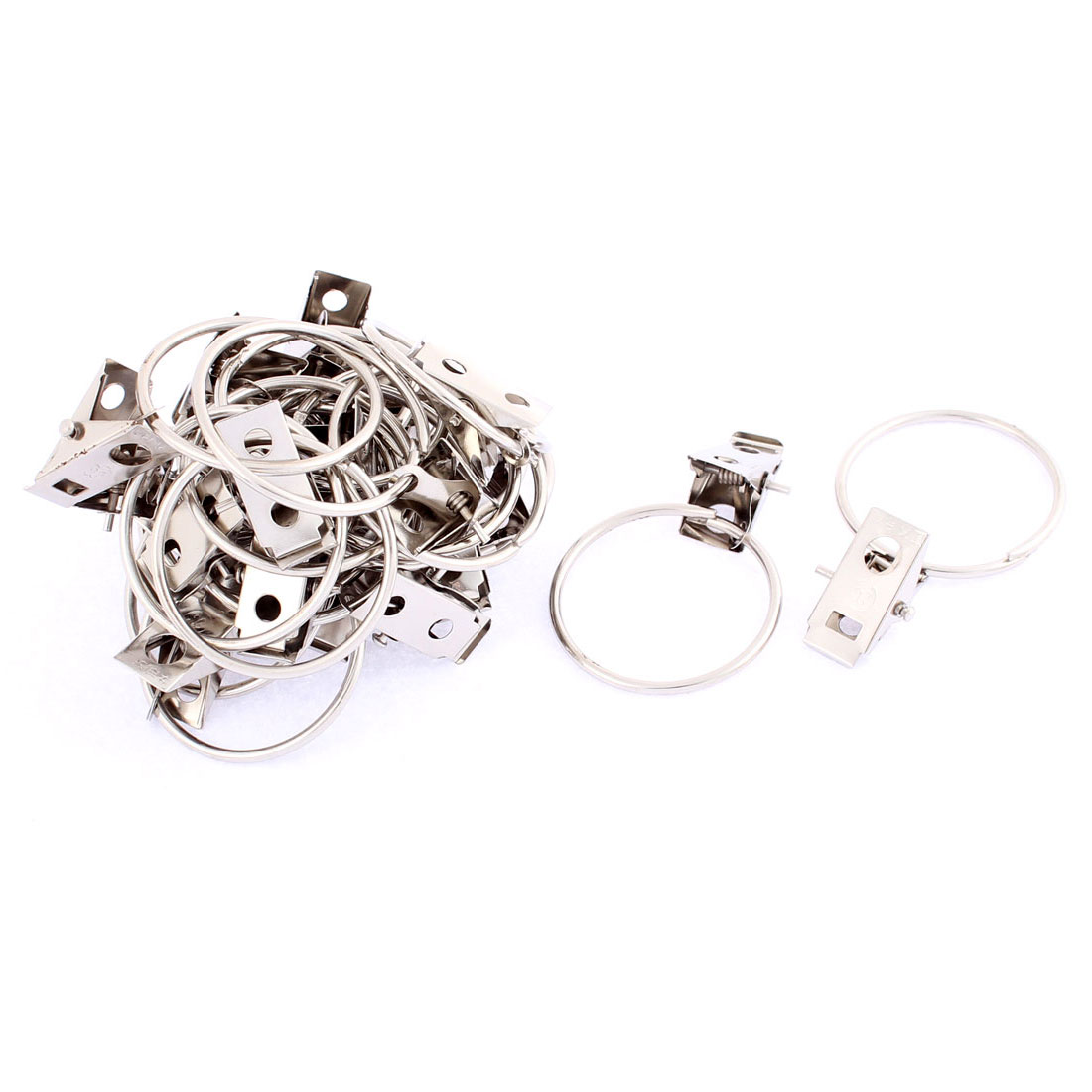 24 Pcs Stainless Steel Split Sprung Curtain Clips Clamps 36mm Dia