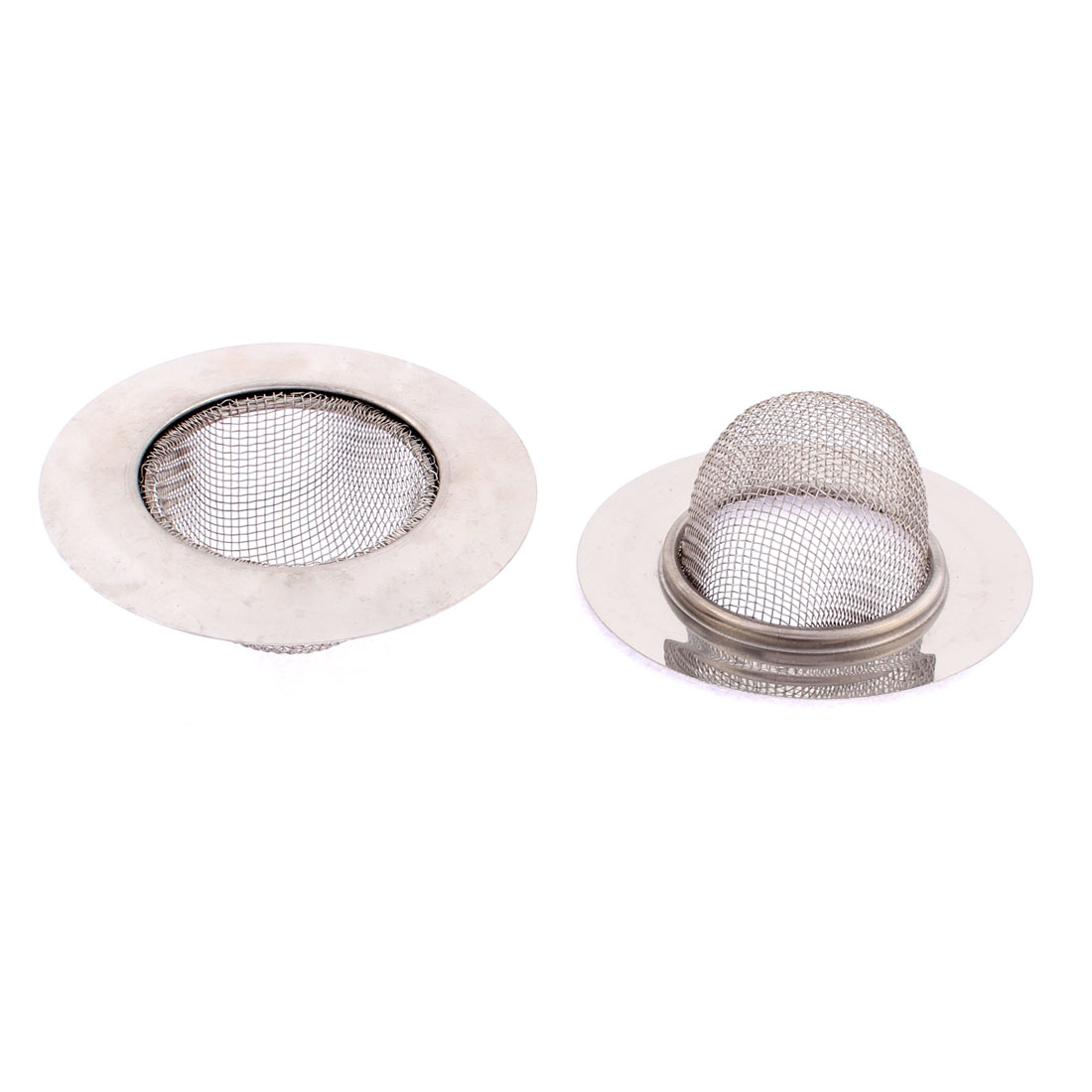 Bathroom Stainless Steel Basin Wire Mesh Sink Strainer 90mm Dia 2 Pcs