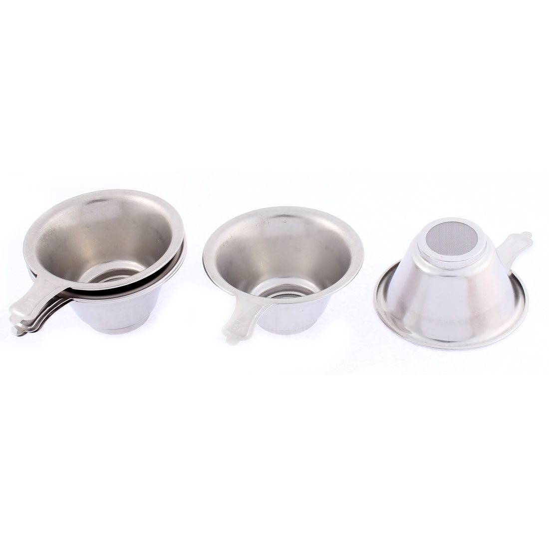 Household Stainless Steel Mesh Bottom Tea Bowl Strainer 74mm Dia 5 Pcs