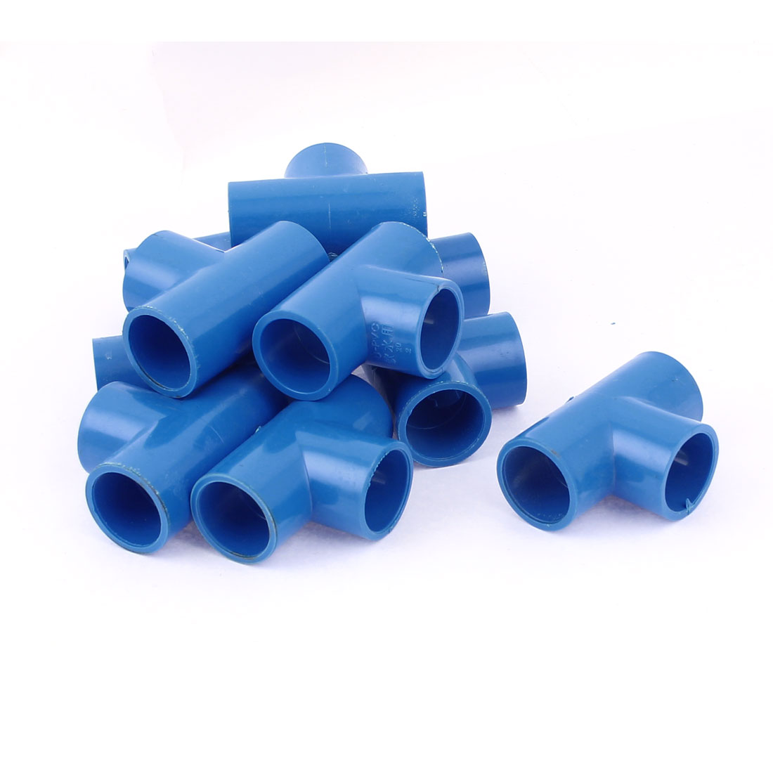 10Pcs 20mm Inner Dia U-PVC T Type 3 Way Water Pipe Hose Joint Connector Blue