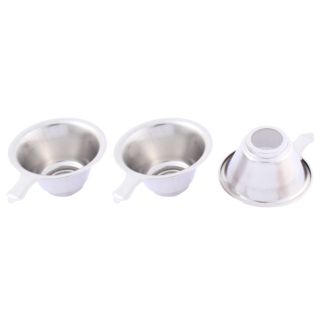 Home Stainless Steel Mesh Bottom Tea Bowl Strainer 74mm Dia 3 Pcs