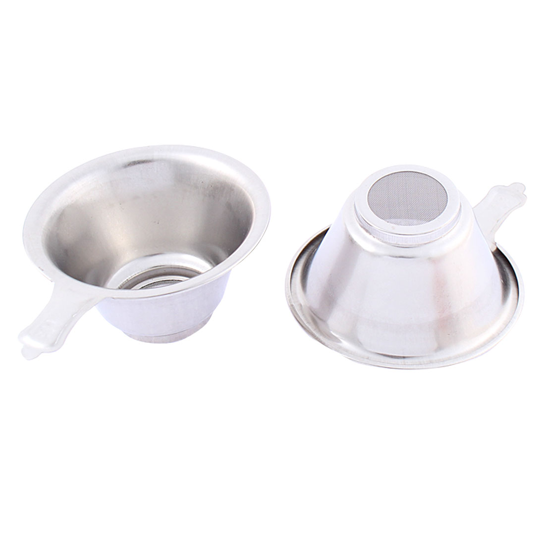 Stainless Steel Mesh Bottom Tea Bowl Strainer Filter 74mm Dia 2 Pcs