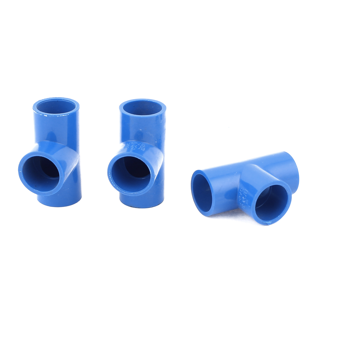 3Pcs 20mm Inner Dia U-PVC T Type 3 Way Water Pipe Hose Joint Connector Blue
