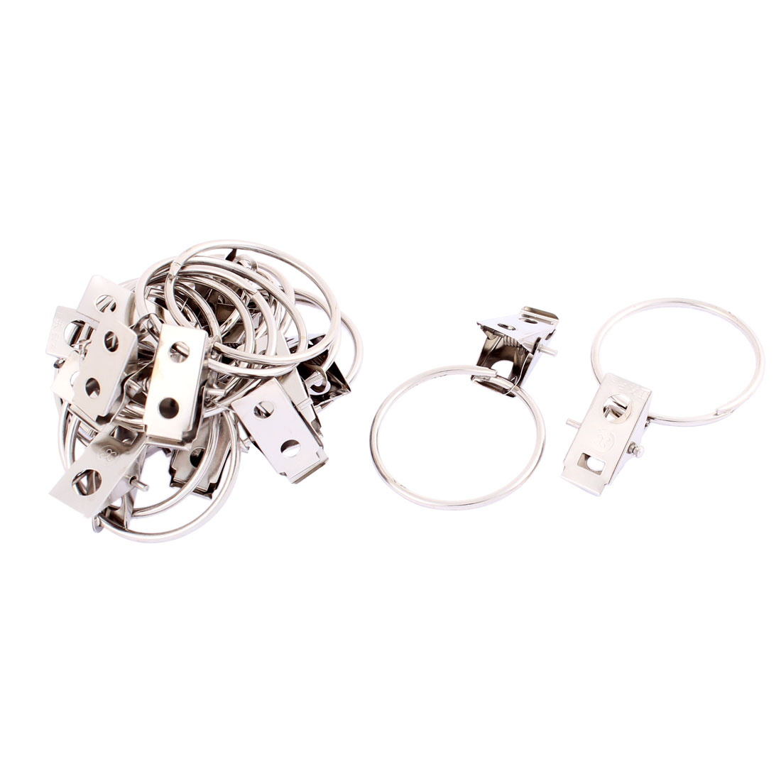 16 Pcs Stainless Steel Spring Loaded Sprung Curtain Clips 36mm Dia
