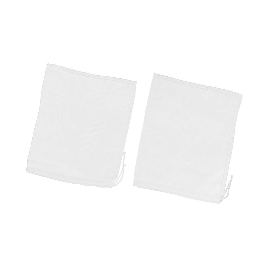 2 Pcs Drawstring Seal Soup Food Filter Mesh Bag 22cm x 18cm White