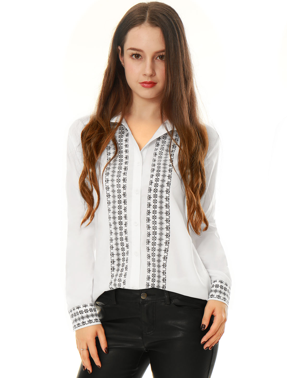 Ladies Tile Print Long Sleeves Tunic Button-Down Shirts White M