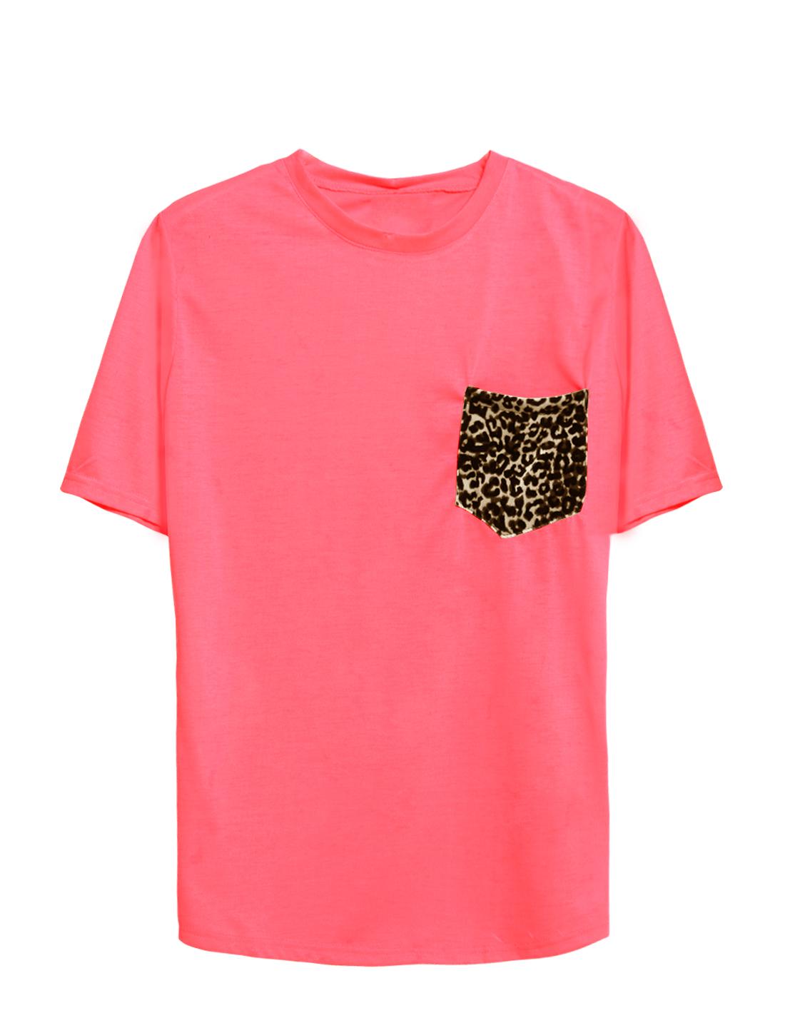 Women Round Neck Short Sleeves Leopard Pattern Chest Pocket Leisure Tee Pink XS