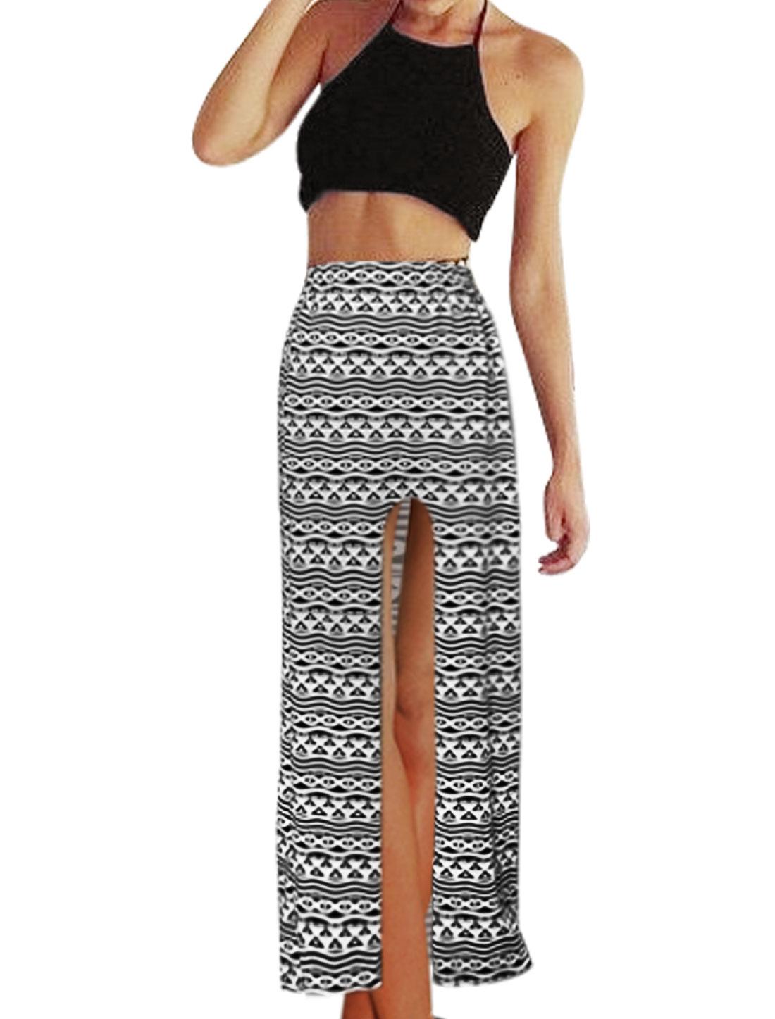 Women Halter Neck Crop Top w Geometric Print Side Split Skirt Sets Black M