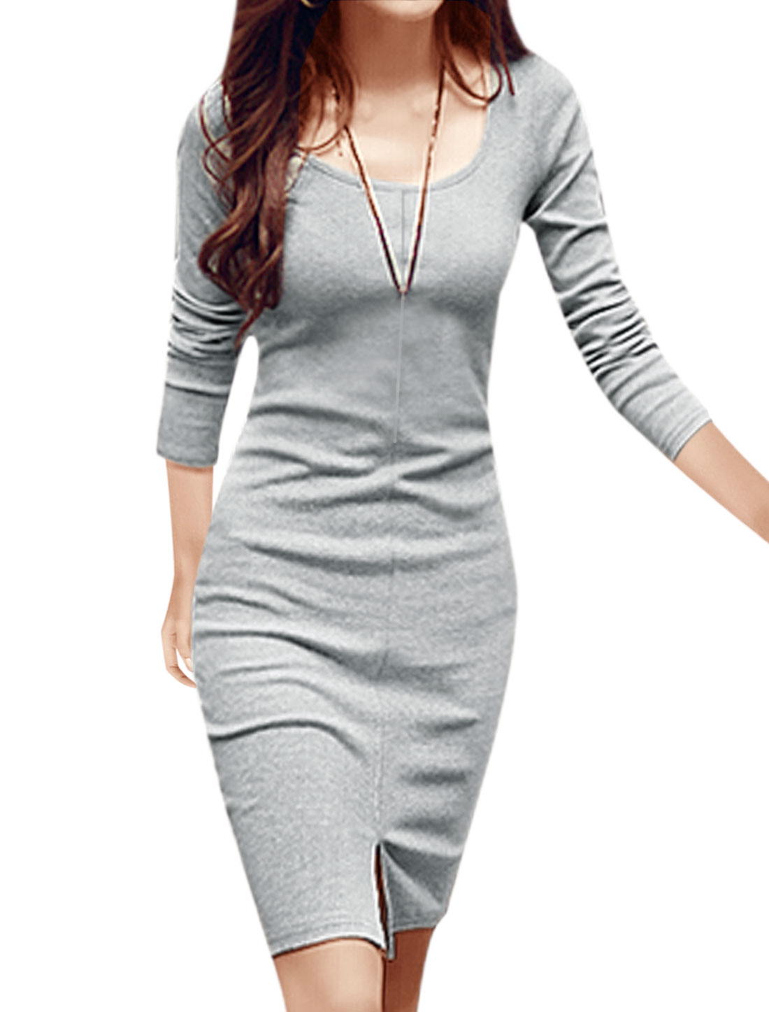 Lady Scoop Neck Long Sleeves Split Front Unlined Pencil Dress Gray M