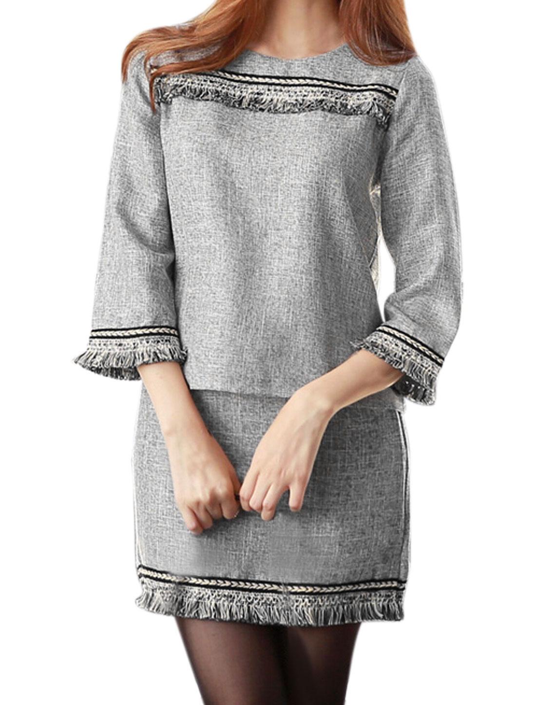 Women 3/4 Sleeves Tassels Top w Hidden Zipper Side Short Skirt Set Gray M