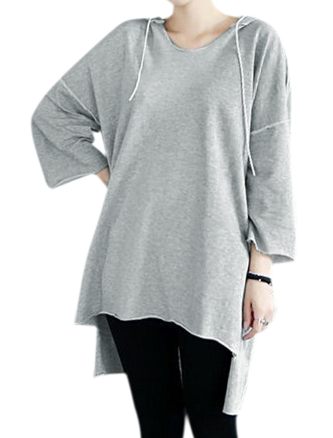 Ladies Dolman Sleeves High Low Hem Casual Tunic Drawstring Hoodie Gray XS