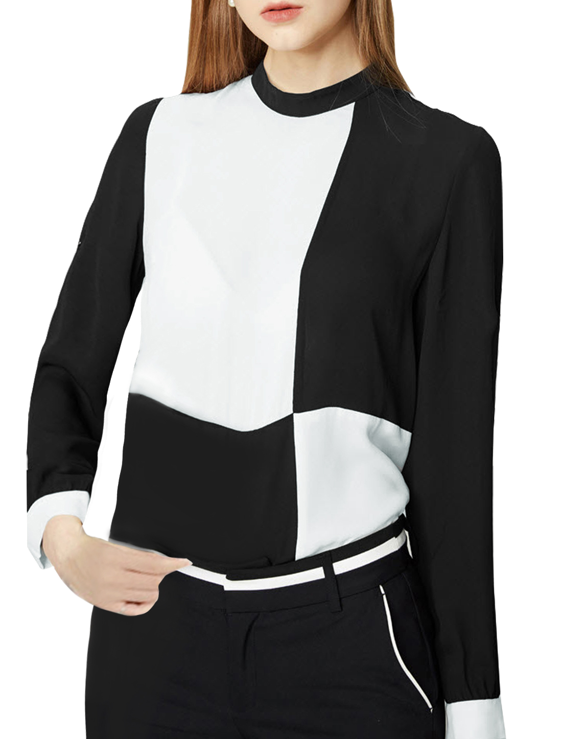 Women Rolled Up Sleeves Color Block Tunic Chiffon Blouse Black White XS