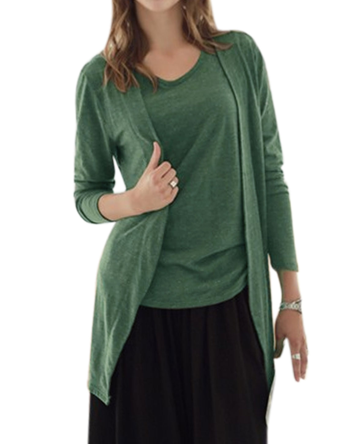 Lady Sleeveless Top w Open Front Longline Cardigan Sets Green XS