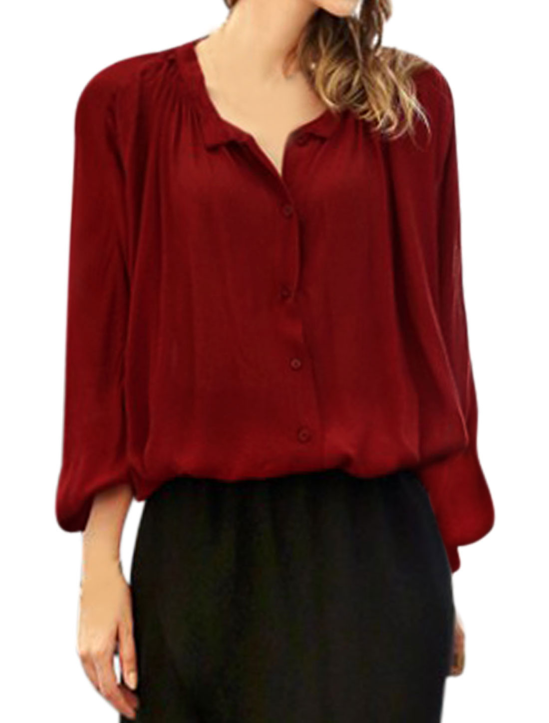 Lady Stand Collar Long Batwing Sleeves Button Closed Drawstring Hem Blouse Red M