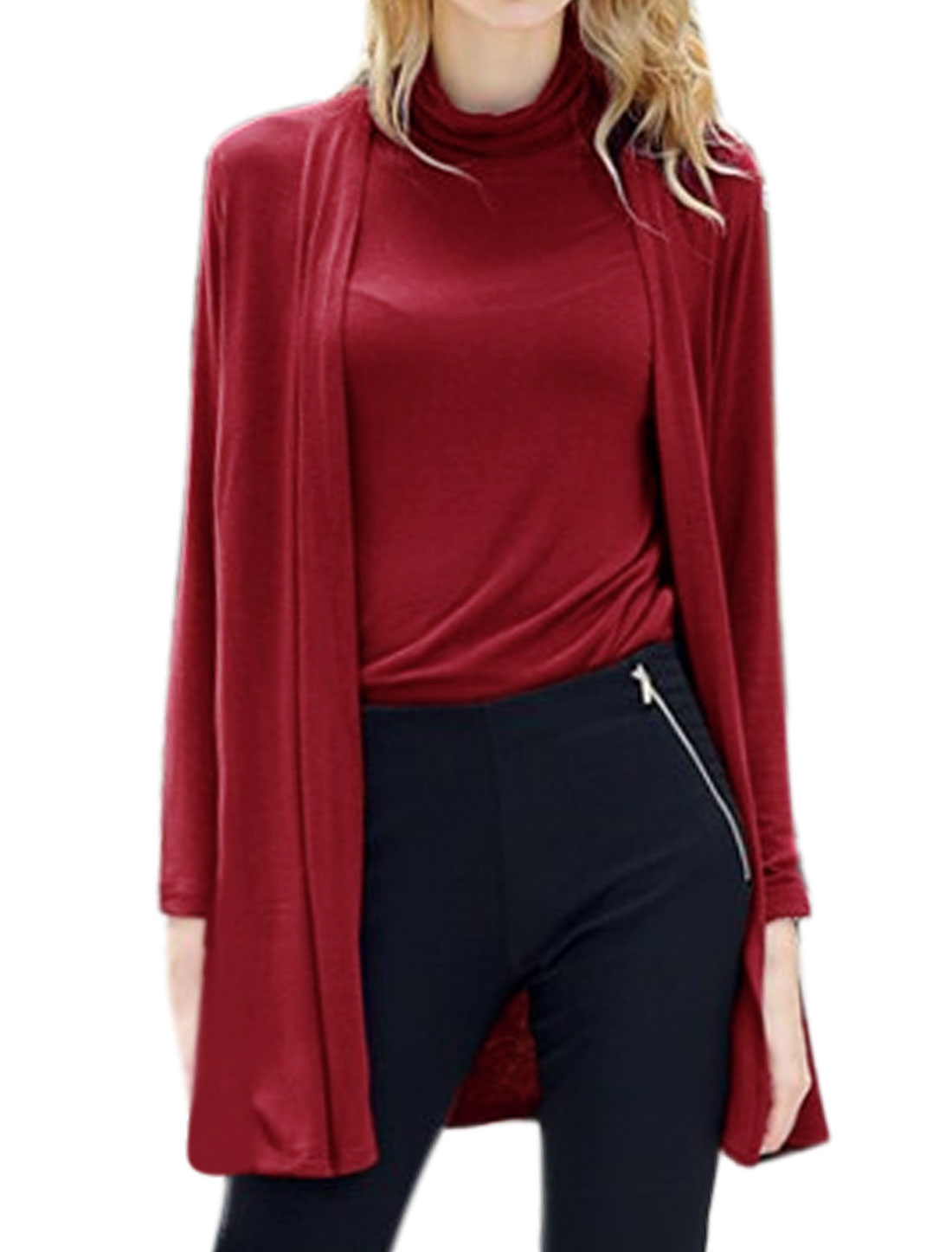 Women Turtle Neck Top w Long Sleeve Front Opening Tunic Cardigan Red M