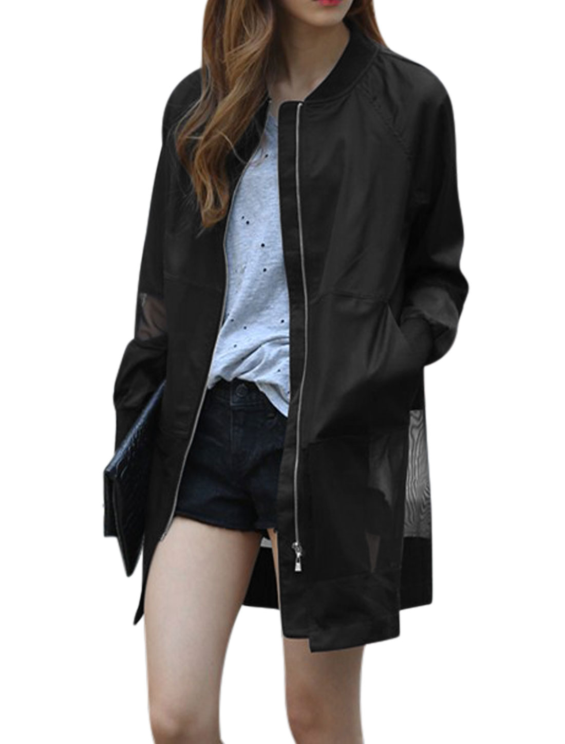 Women Stand Collar Long Sleeves Mesh Panel See Through Trench Jacket Black XS