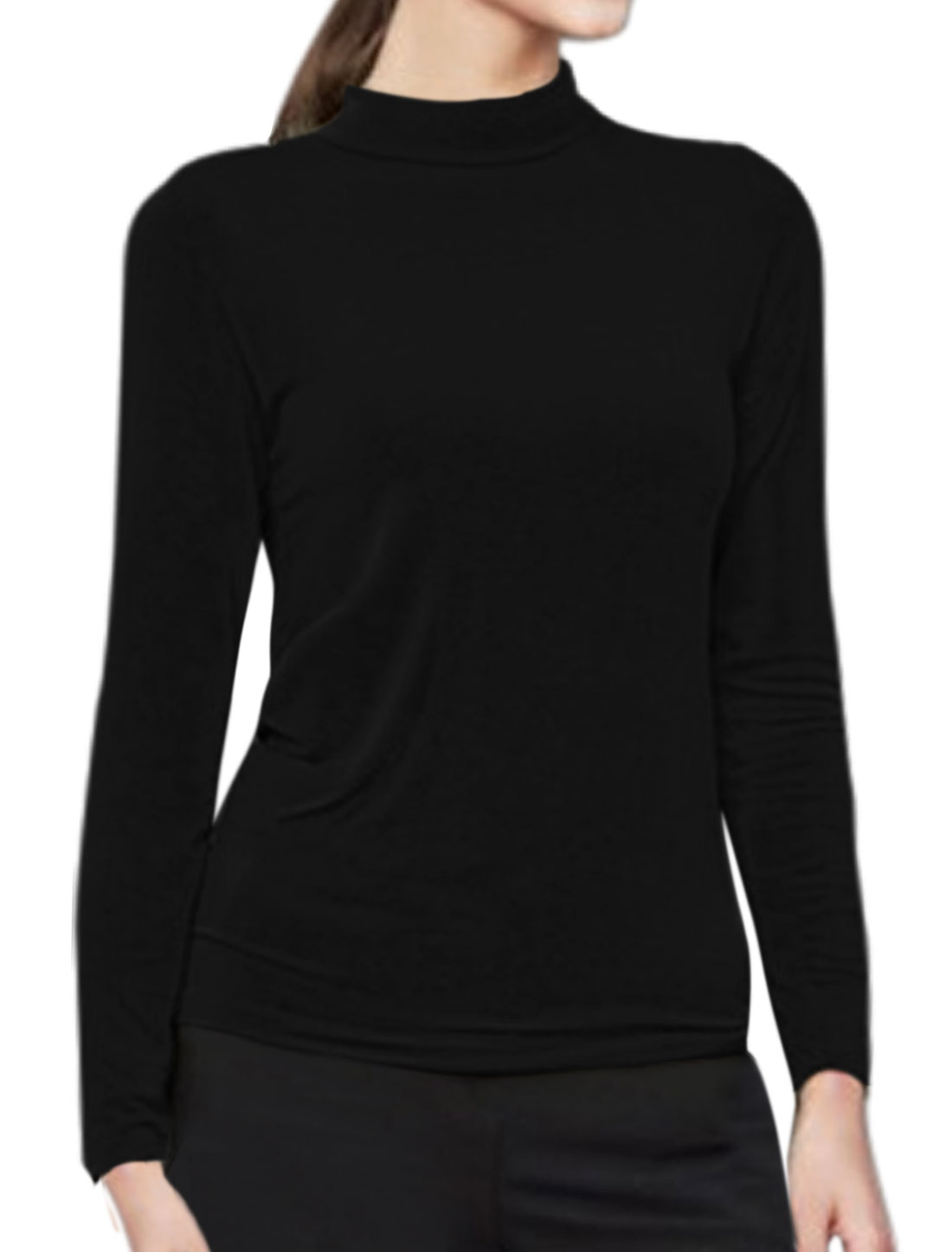 Ladies Mock Neck Long Sleeves Slim Fit Tee Shirt Black M