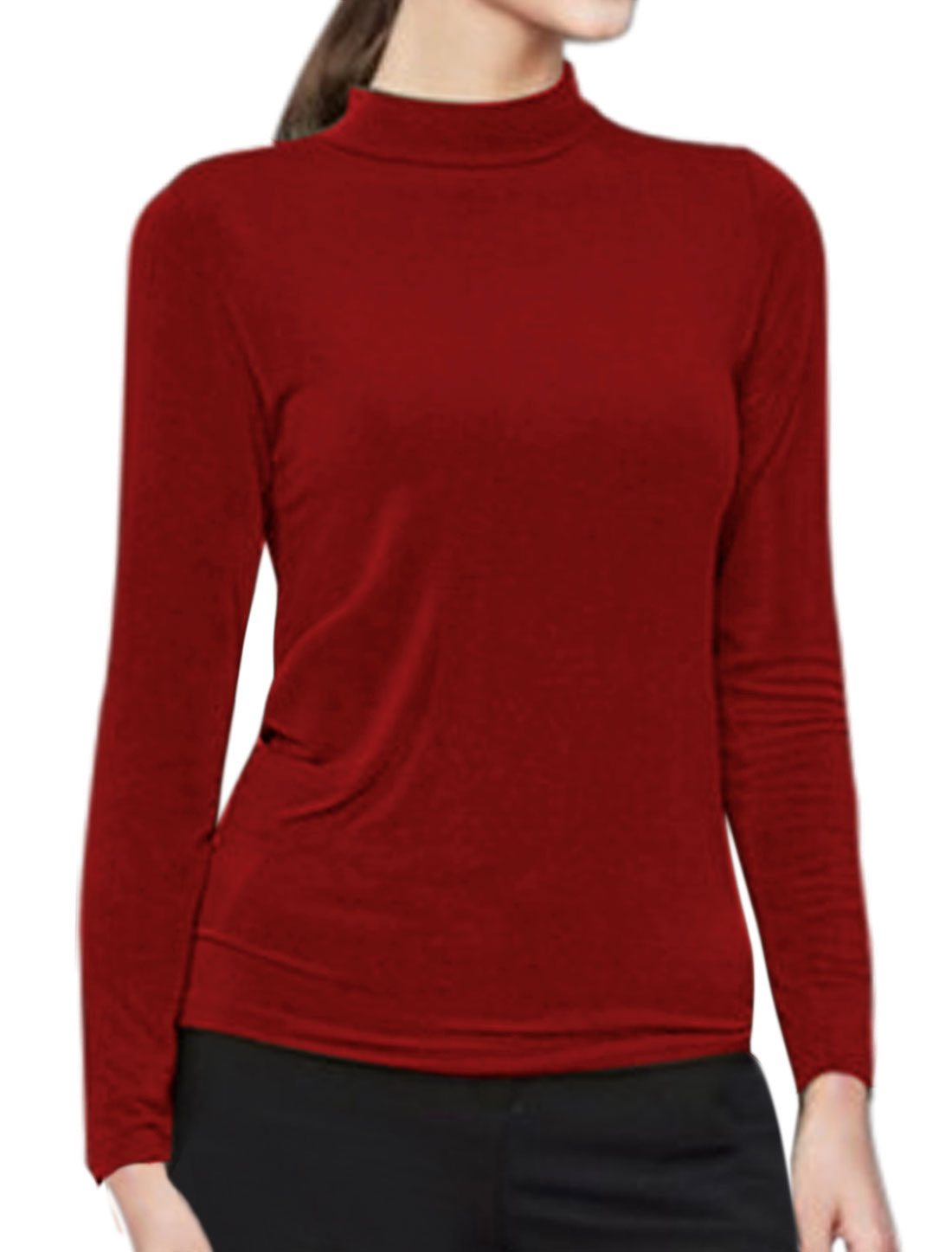 Women Mock Neck Form Fitting Long Sleeves Top Red M