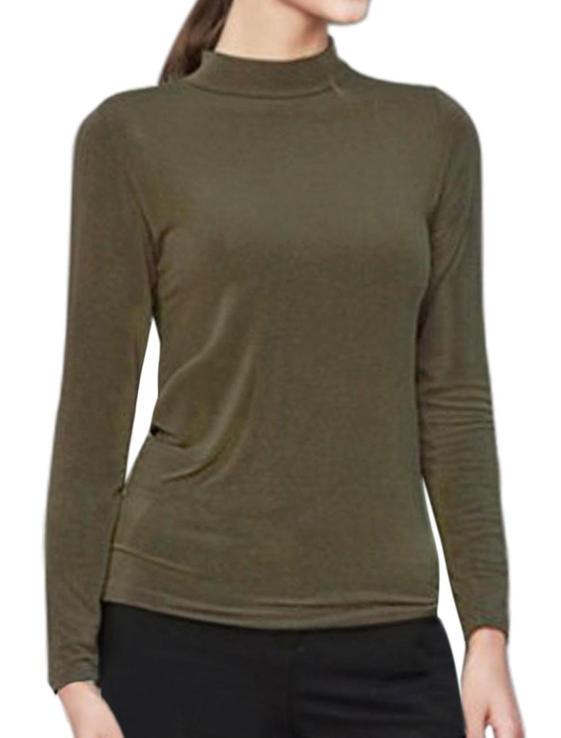 Women Mock Neck Long Sleeves Casual Tee Shirt Green M