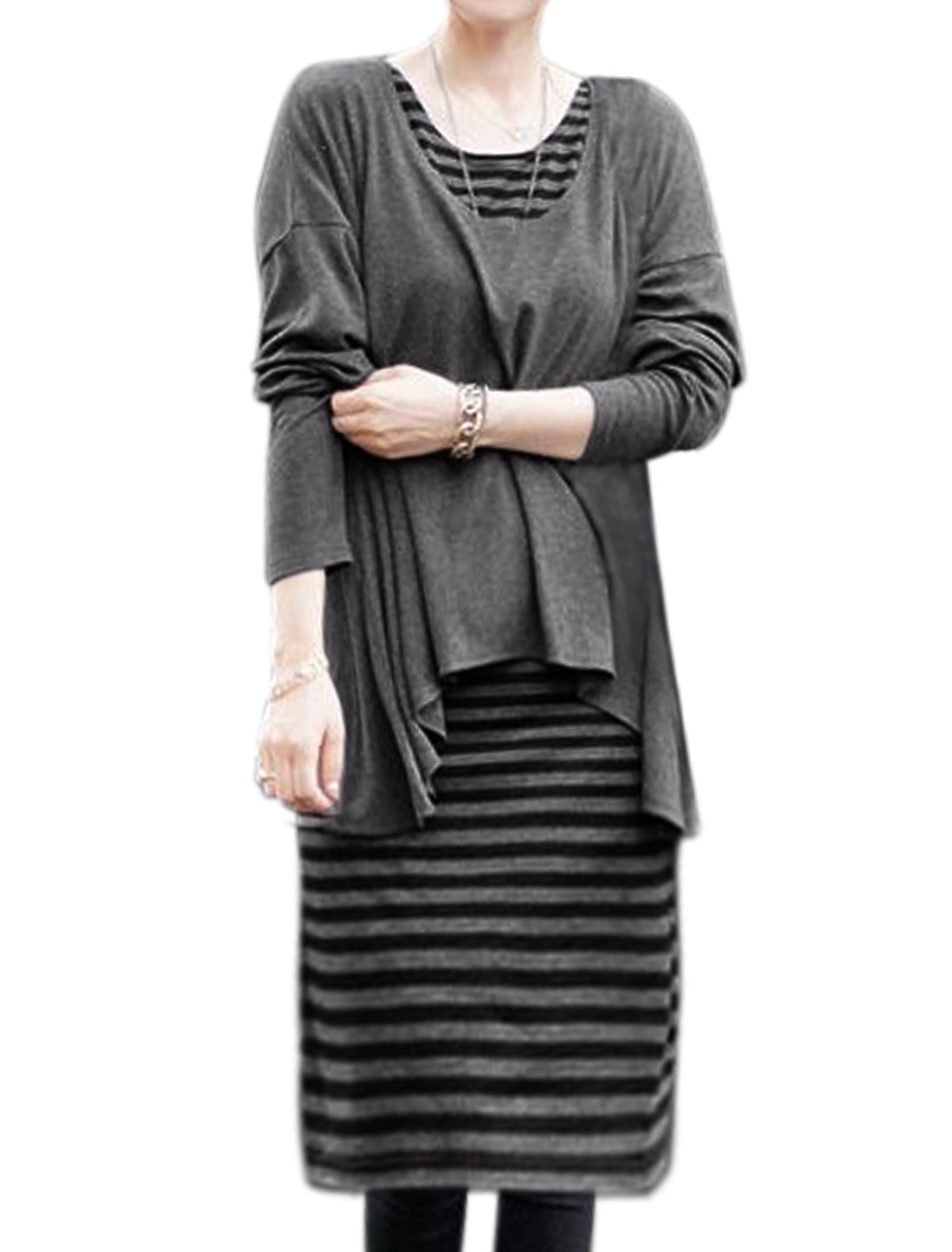Women Long Dolman Sleeves High Low Hem Top w Stripes Shift Dress Sets Gray S