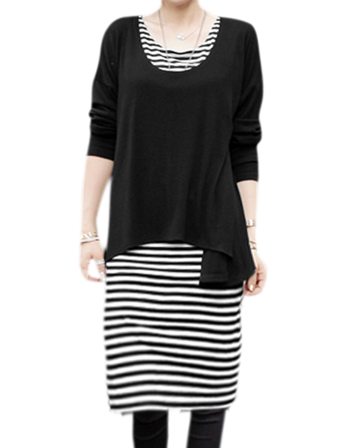 Ladies Long Batwing Sleeves Loose Fit Top w Stripe Midi Dress Sets Black S