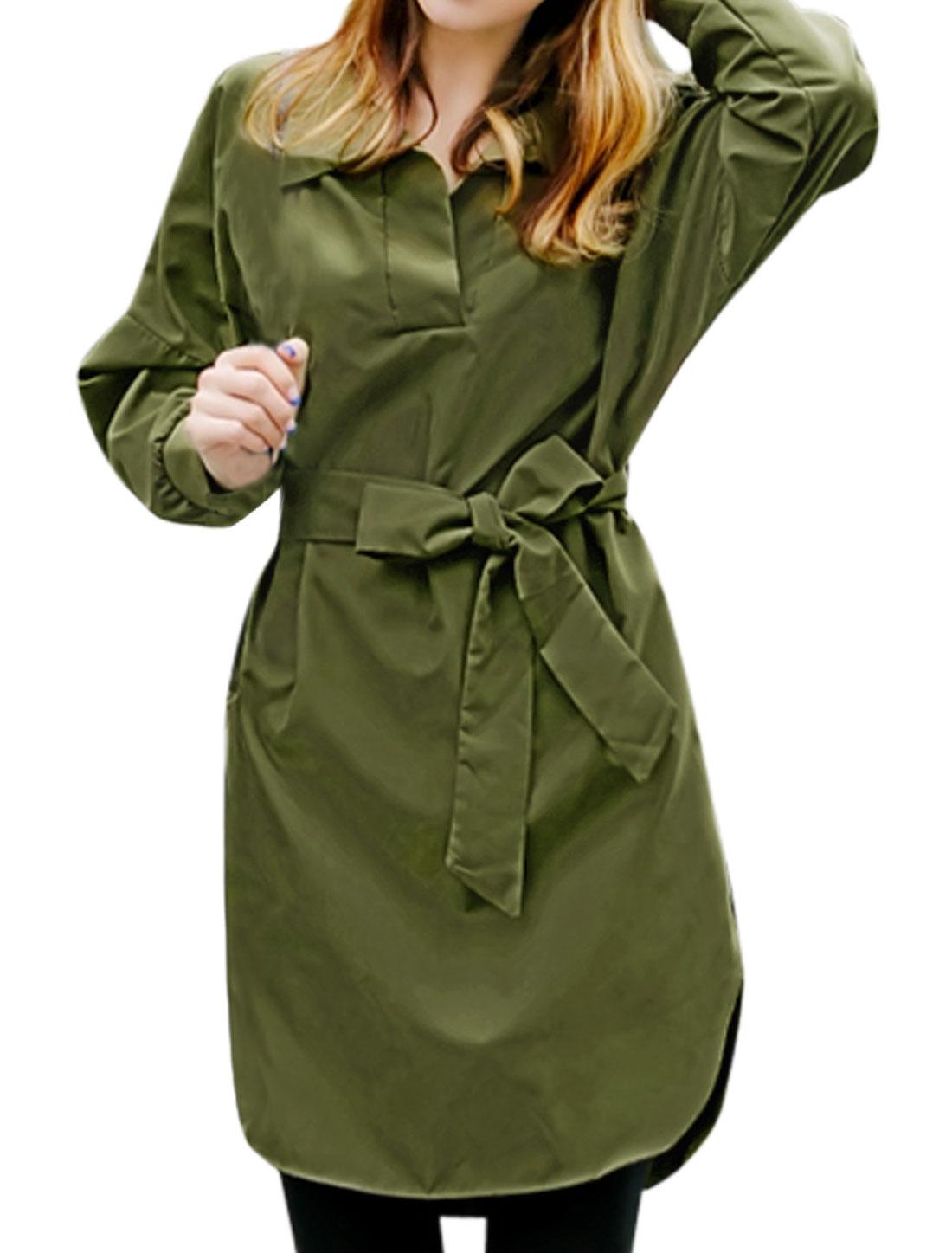 Women Turn Down Collar Split Sides Tunic Top w Waist String Green XS