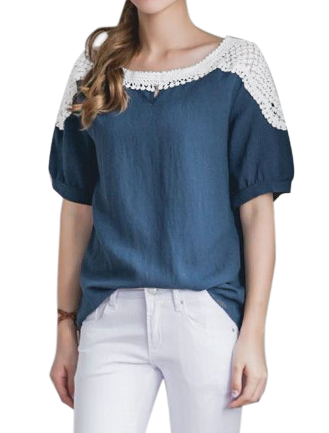 Women Round Neck Elbow Sleeves Panel Design Casual Top Blue XS