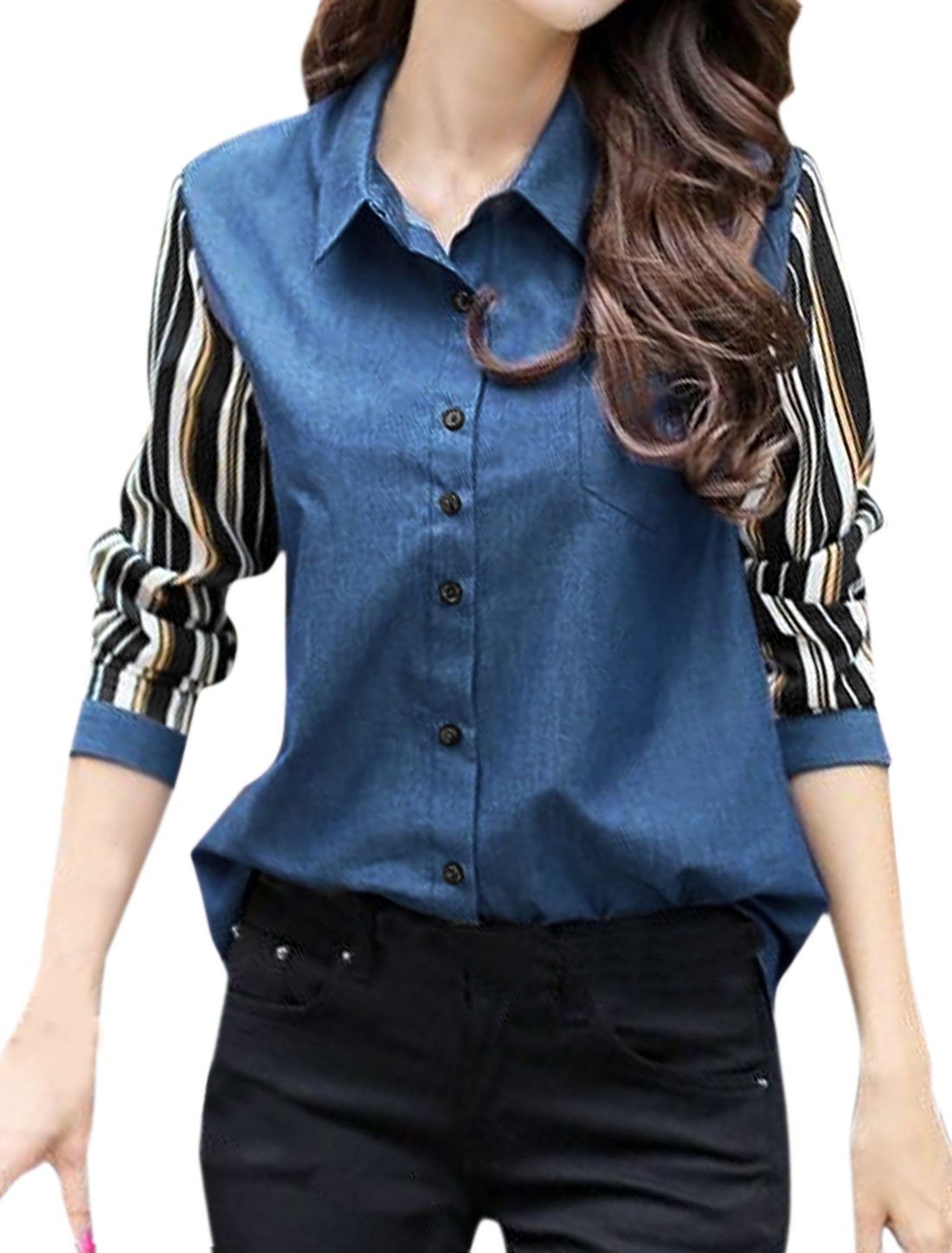 Women Point Collar Stripes Panel Design Tunic Jean Shirt Blue S