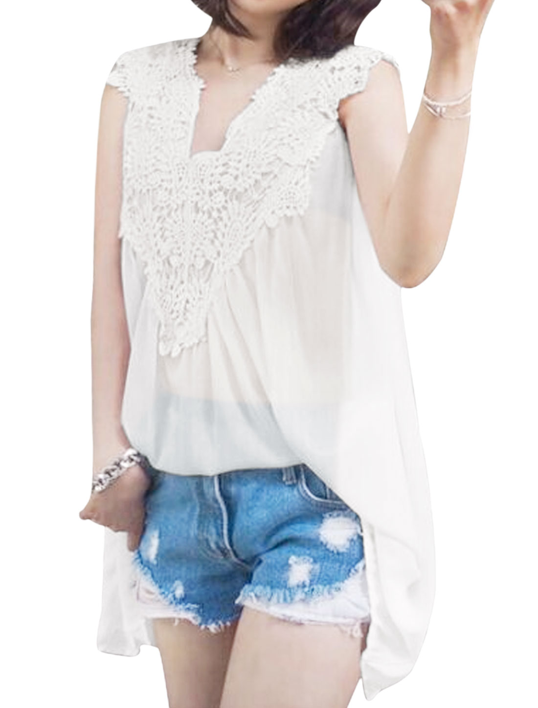 Women V Neck Sleeveless Crochet Panel Tunic Blouse White XS