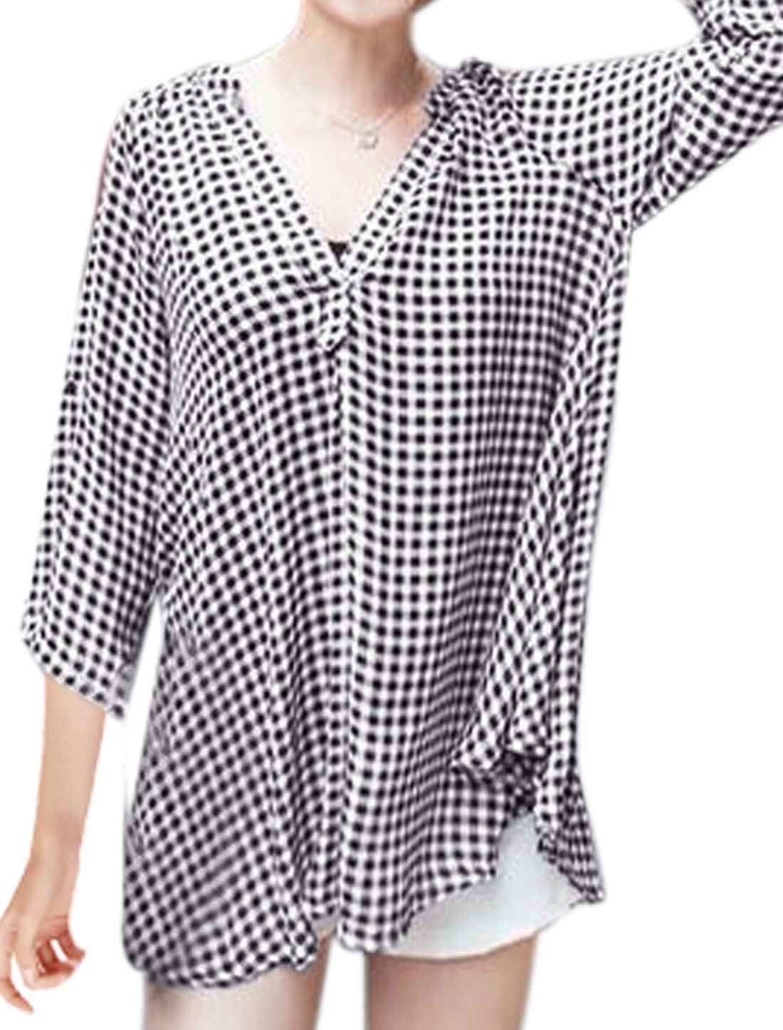 Lady Stand Collar V Neckline Plaids Tunic Blouses Black M