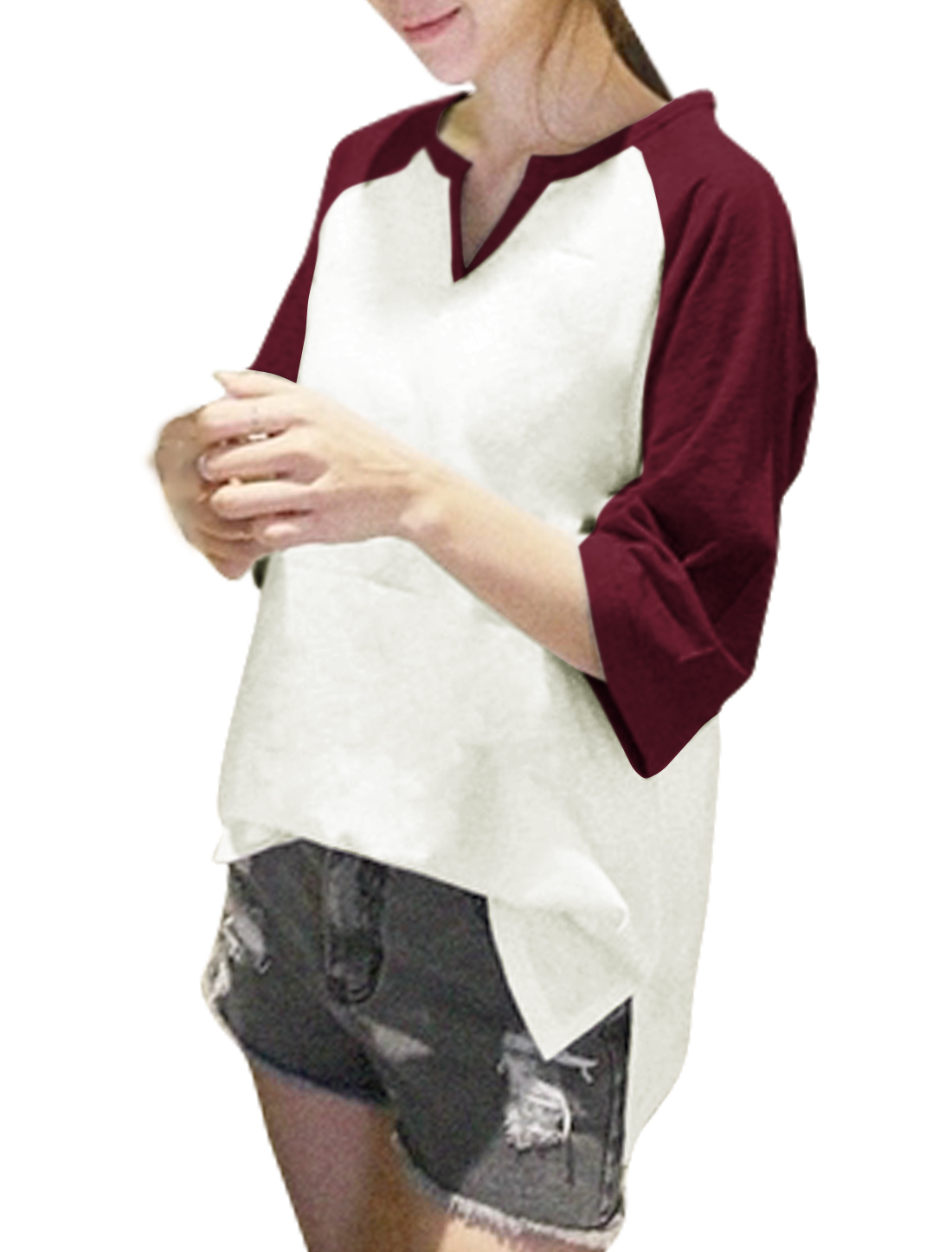 Ladies Raglan Sleeves Contrast Color High Low Hem Loose Fit T-Shirt Red White M