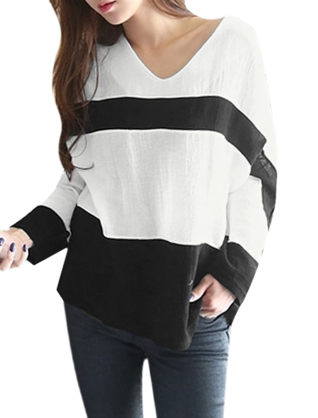 Women Round Neck Long Sleeves Color Block Casual Blouses White XS