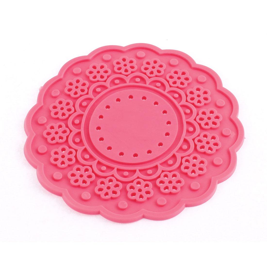 Fuschia Silicone Lace Doily Coasters Drink Tea Cup Mat 10cm Dia