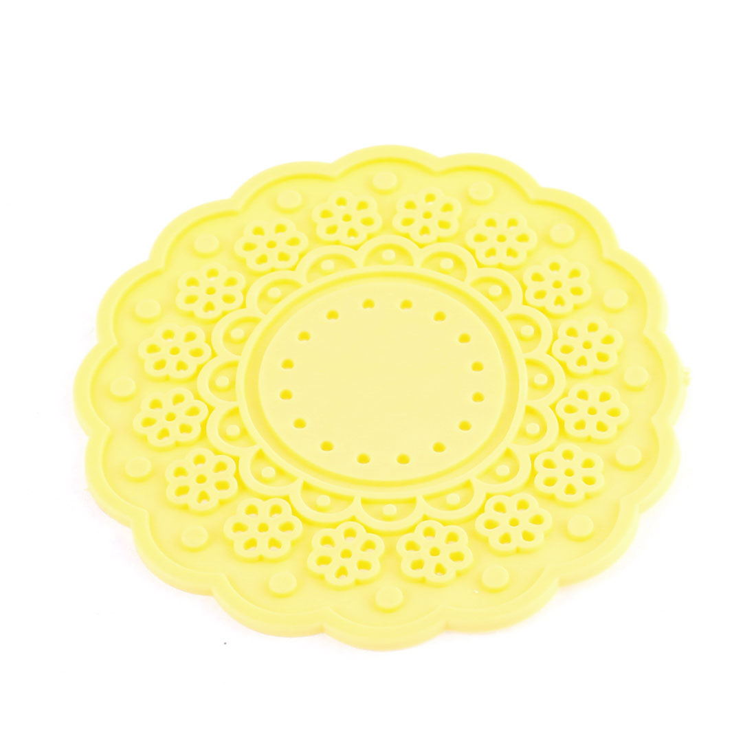 Yellow Silicone Lace Doily Coasters Drink Tea Cup Mat 10cm Dia