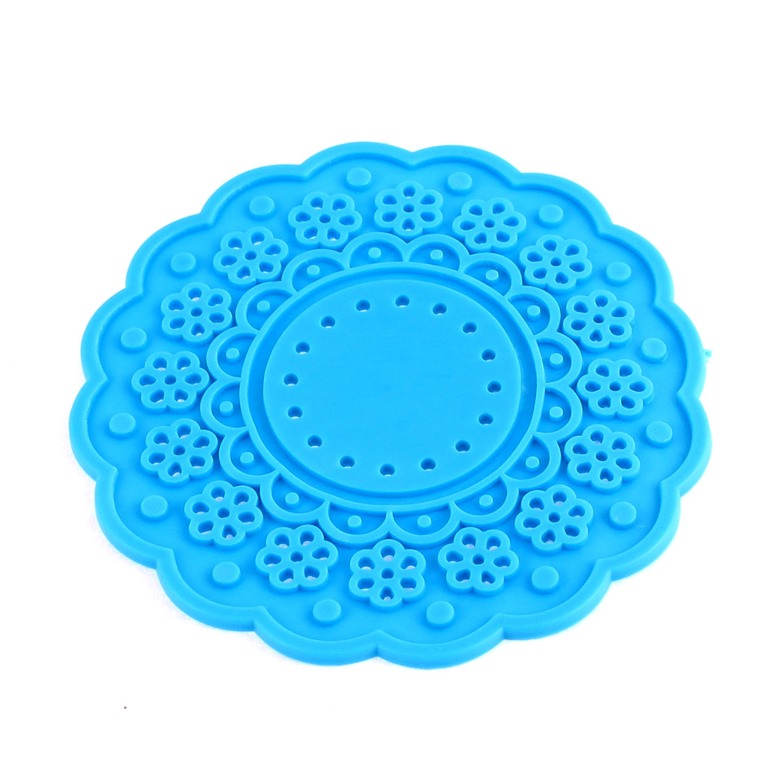 Blue Silicone Lace Doily Coasters Drink Tea Cup Mat 10cm Dia