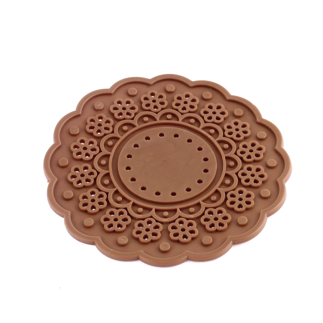 Coffee Color Silicone Lace Doily Coasters Drink Tea Cup Mat 10cm Dia