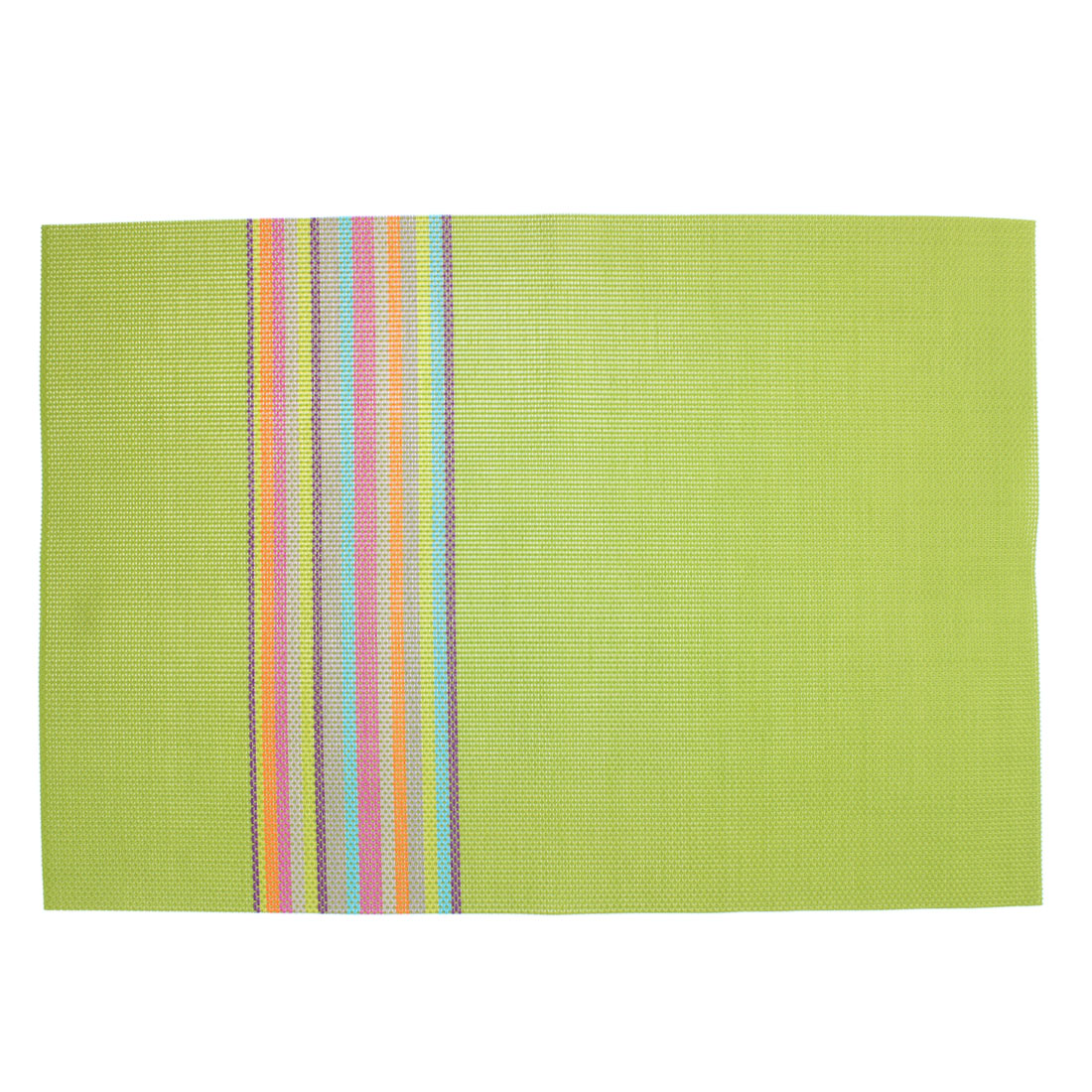 Green PVC Handmade Weave Stripe Dining Table Mat Placemat Coaster