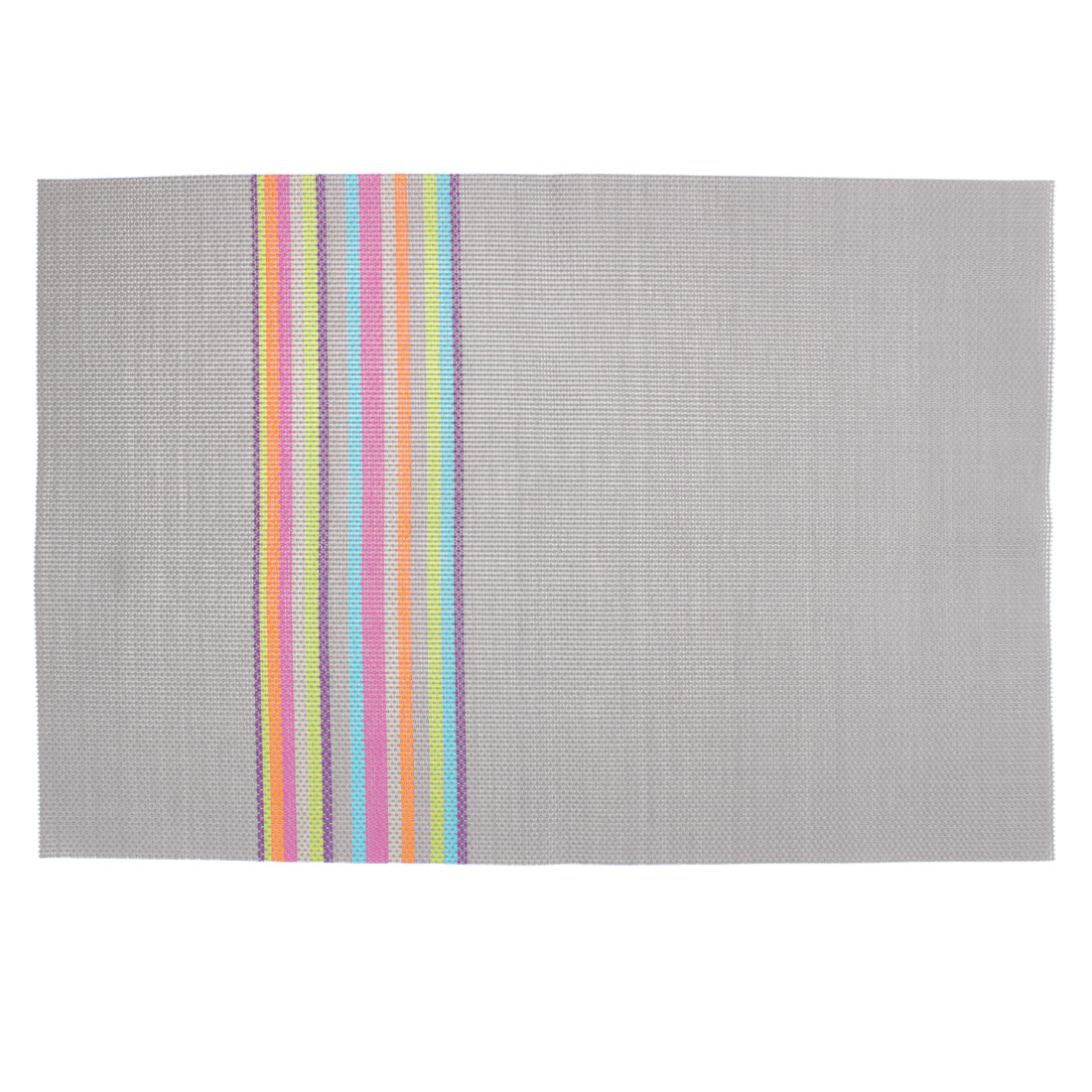 Gray PVC Handmade Weave Stripe Dining Table Mat Placemat Coaster
