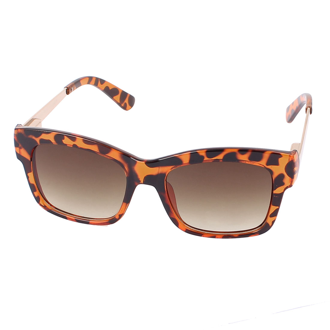 Ladies Leopard Pattern Frame Gradient Brown Lens UV400 Protection Sunglasses