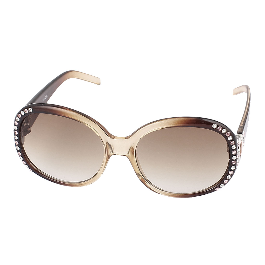 Lady Rhinestone Inlaid Full Frame Gradient Lens Eyeware Sunglasses