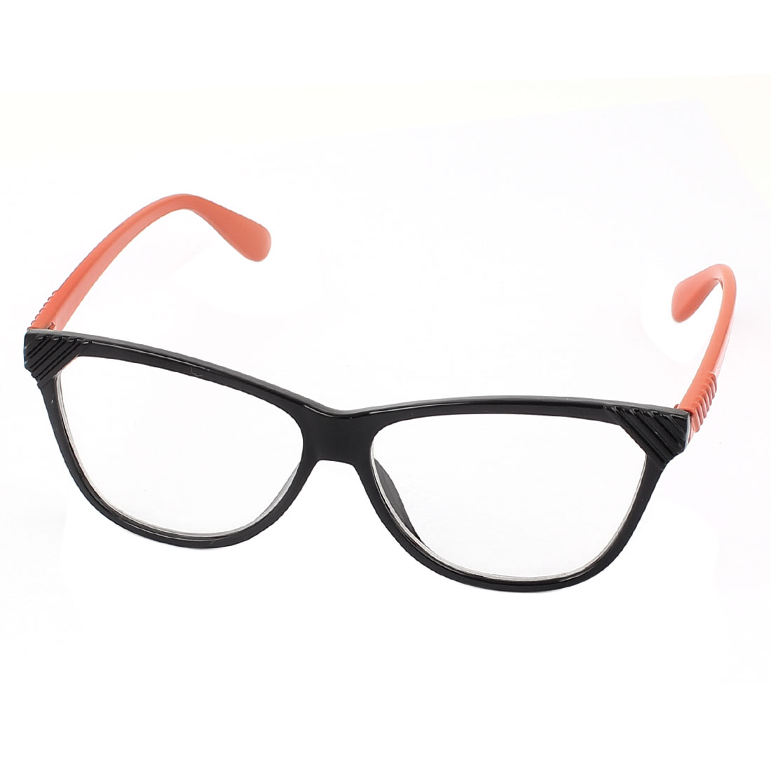 Plastic Arm Single Bridge Clear Lens Plain Glasses Eyeglasses Plano Spectacles Orange