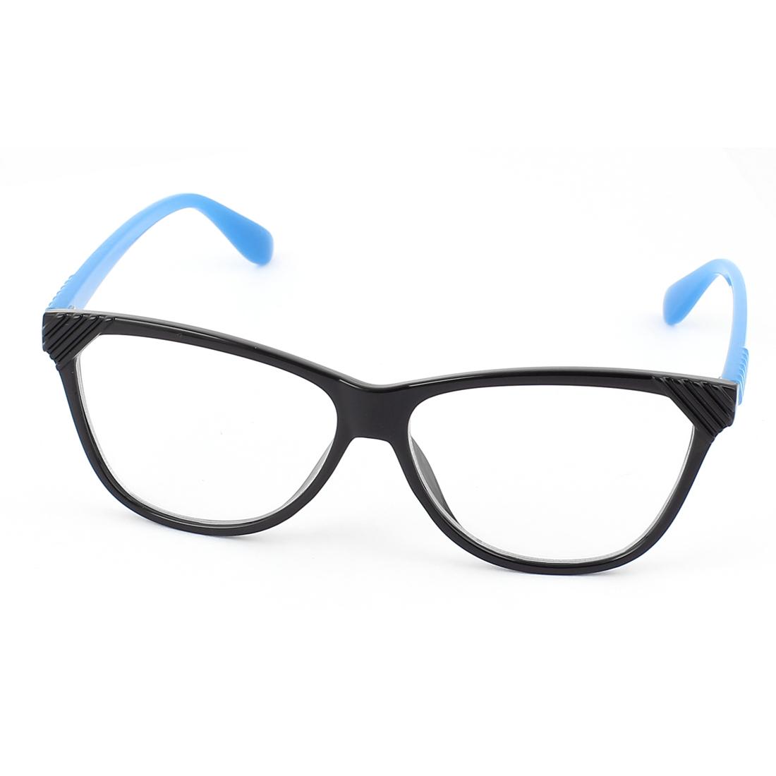 Plastic Arm Single Bridge Clear Lens Plain Glasses Eyeglasses Plano Spectacles Blue