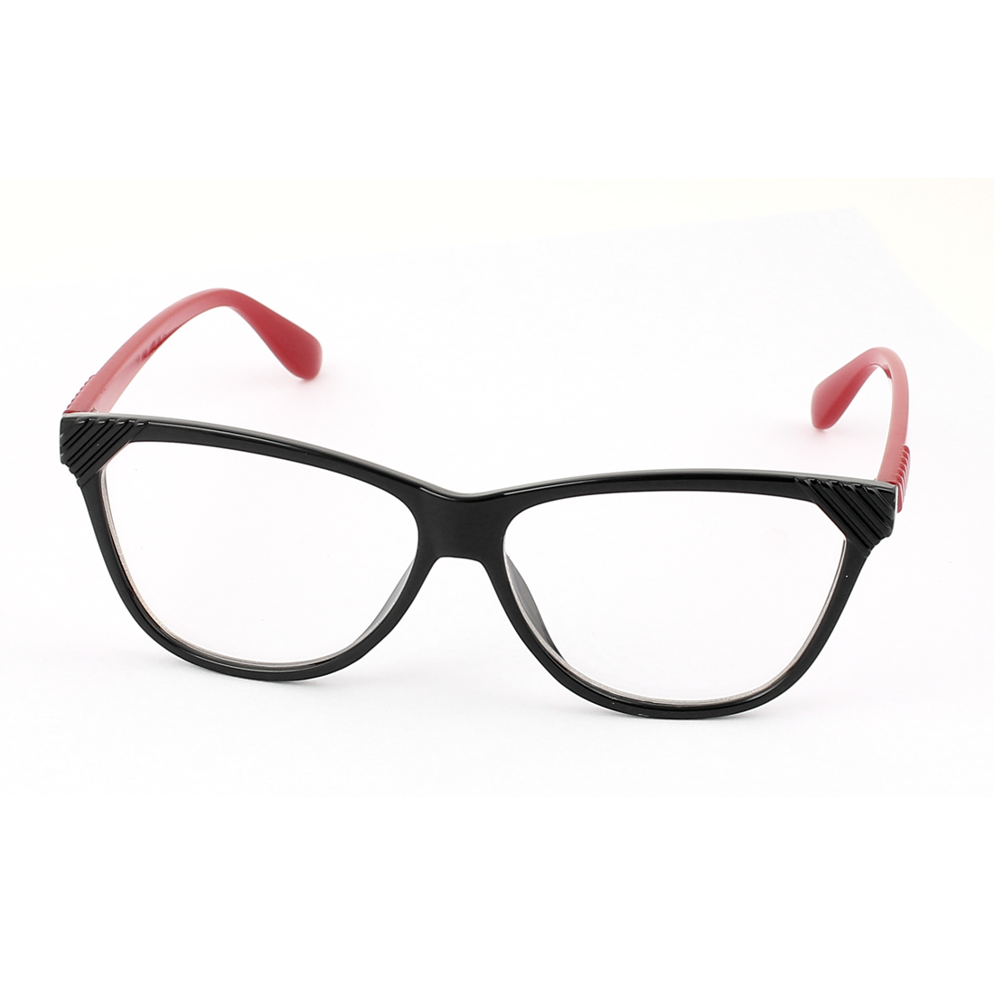 Plastic Arm Single Bridge Clear Lens Plain Glasses Eyeglasses Plano Spectacles Red