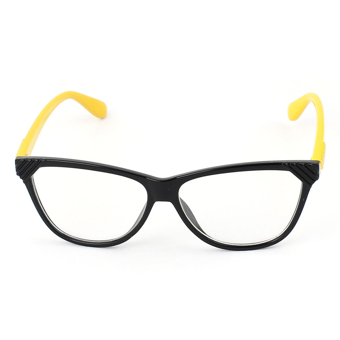 Plastic Arm Single Bridge Clear Lens Plain Glasses Eyeglasses Plano Spectacles Yellow